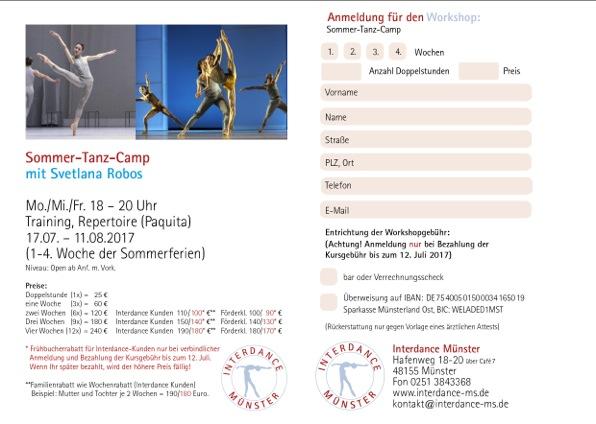 Anmeldung Sommer-Tanz-Camp mit Svetlana Robos