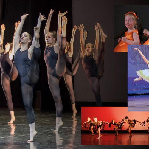 Sechs Tänzerinnen in schwarzen Trikots werfen Ihr Bein hoch. Zwei kleine Mädchen lachen und eine Ballerina steht auf der Spitze.