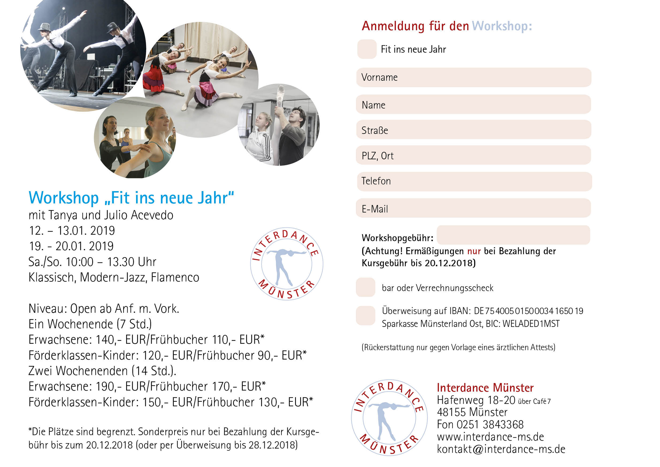 Interdance Muenster Workshops 12 2018 Fit ins neue Jahr